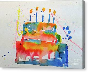 Canvas Print featuring the painting Birthday Blue Cake by Claire Bull