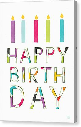 Kids Card Canvas Print - Birthday Candles- Art By Linda Woods by Linda Woods