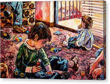 Canvas Print featuring the painting Birthday Party Or A Childs View by Kendall Kessler