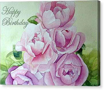 Canvas Print featuring the painting Birthday Peonies by Laurel Best
