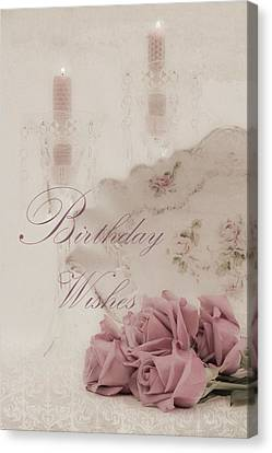 Birthday Wishes - Candles, Crystal And Roses Canvas Print by Sandra Foster