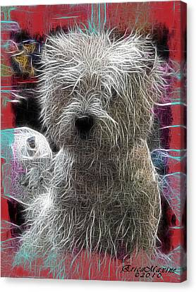 Canvas Print featuring the photograph Bishon Frise by EricaMaxine  Price