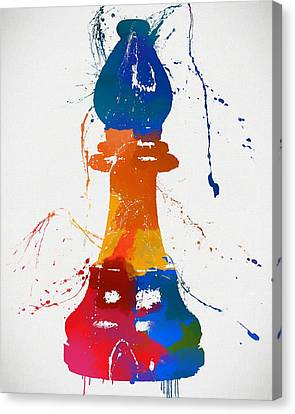 Bishop Chess Piece Paint Splatter Canvas Print by Dan Sproul