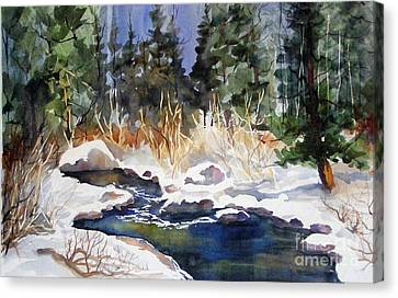 Canvas Print featuring the painting Bishop Creek Winter by Pat Crowther