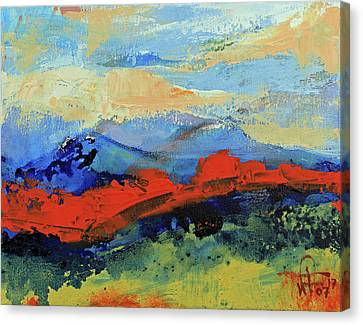 Canvas Print featuring the painting Bishop Mountains - Fall 2016 by Walter Fahmy