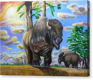 Canvas Print featuring the painting Bison Acrylic Painting by Thomas J Herring