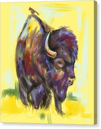 Canvas Print featuring the painting Bison And Bird by Go Van Kampen