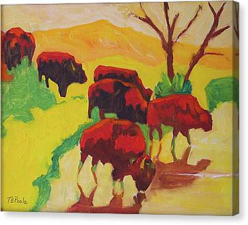 Bison Art Bison Crossing Stream Yellow Hill Painting Bertram Poole Canvas Print