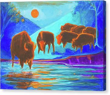 Bison Art - Seven Bison At Sunrise Yosemite Painting T Bertram Poole Canvas Print