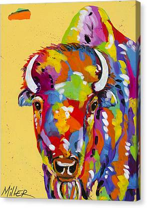 Bison In Yellow Canvas Print by Tracy Miller