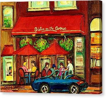 Bistro On Greene Avenue In Montreal Canvas Print by Carole Spandau