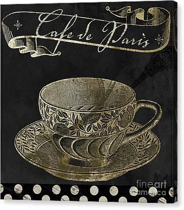 Bistro Parisienne Cafe De Paris Gold Canvas Print by Mindy Sommers