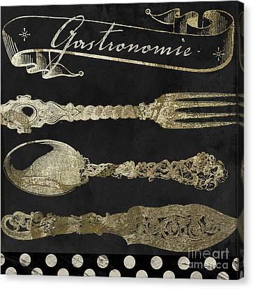 Bistro Parisienne Gastronomie Gold Canvas Print by Mindy Sommers