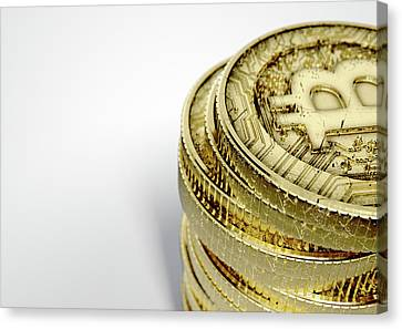 Gold Metal Canvas Print - Bitcoin Stack by Allan Swart