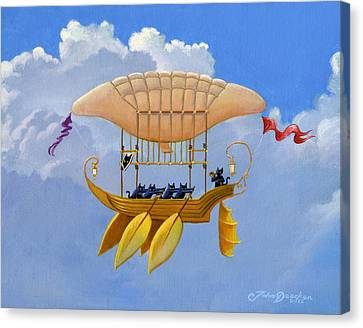 Oar Canvas Print - Bizarre Feline-powered Airship by John Deecken