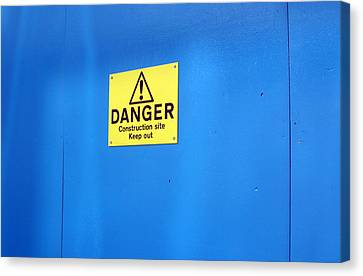 Bkue Warning Canvas Print by Jez C Self
