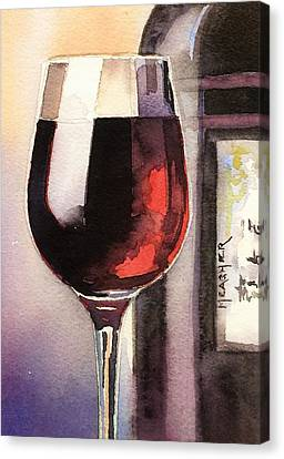 Long Stem Wine Glass Canvas Print - Black And Burgundy by Spencer Meagher