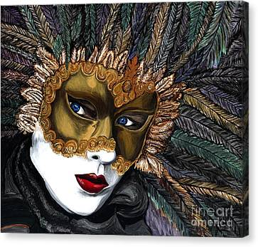 Black And Gold Carnival Mask Canvas Print