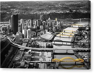 Allegeny River Canvas Print - Black And Gold Pittsburgh  by Emmanuel Panagiotakis