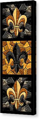 Stained Glass Canvas Print - Black And Gold Triple Fleur De Lis by Elaine Hodges
