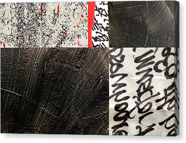 Canvas Print featuring the painting Black And Red 3 by Nancy Merkle