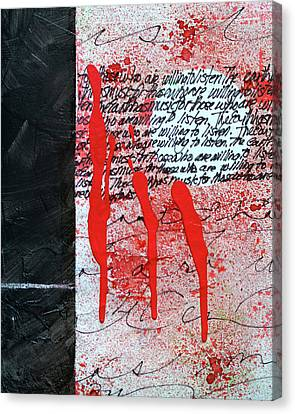 Canvas Print featuring the painting Black And Red 8 by Nancy Merkle