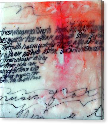 Canvas Print featuring the painting Black And Red Encaustic 1 by Nancy Merkle