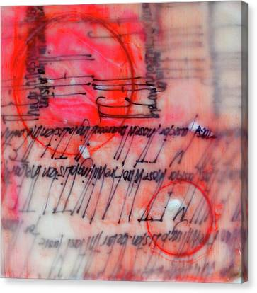Canvas Print featuring the painting Black And Red Encaustic 3 by Nancy Merkle