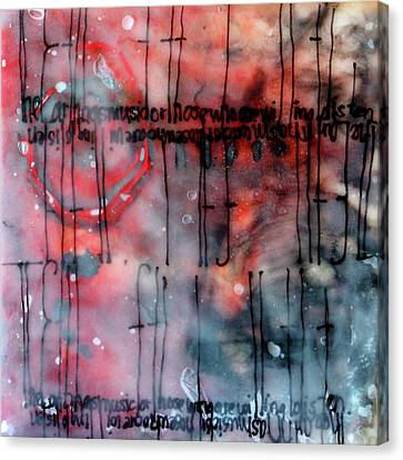 Canvas Print featuring the painting Black And Red Encaustic 4 by Nancy Merkle