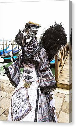 Black And Silver Angel 2015 Carnevale Di Venezia Italia Canvas Print by Sally Rockefeller