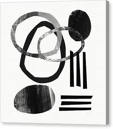 Abstract Art Canvas Print - Black And White- Abstract Art by Linda Woods