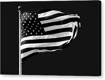 Black And White American Flag Canvas Print by Steven Michael
