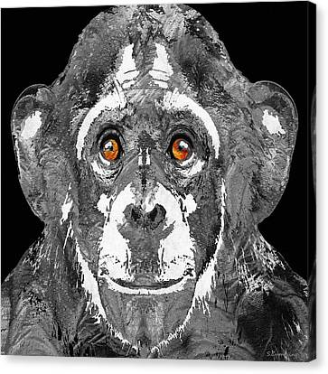 Chimpanzee Canvas Print - Black And White Art - Monkey Business 2 - By Sharon Cummings by Sharon Cummings