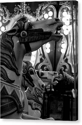 Black And White Carousel Canvas Print by Dana  Oliver