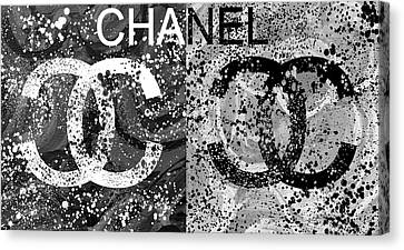Black And White Chanel Art Canvas Print by Dan Sproul