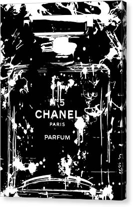 Black And White Chanel Splatter Canvas Print by Dan Sproul