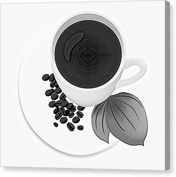 Black And White Coffee Cup Canvas Print