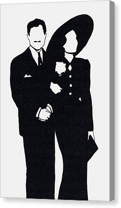 1930s Movies Canvas Print - Black And White Couple by Mel Thompson