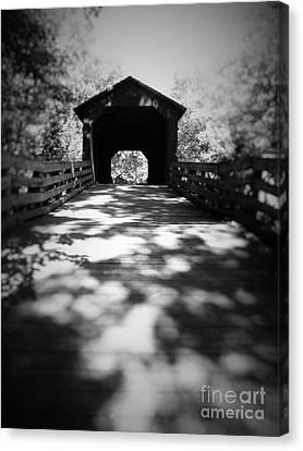 Black And White Covered Bridge Canvas Print