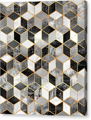 Black And White Cubes Canvas Print by Elisabeth Fredriksson