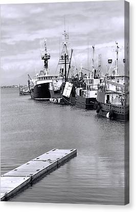 Boats In Water Canvas Print - Black And White Fishing Boats On The Dock by Dan Sproul
