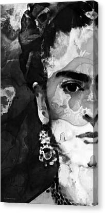 Black And White Frida Kahlo By Sharon Cummings Canvas Print by Sharon Cummings