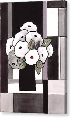 Black And White Funny Flowers Canvas Print by Carrie Allbritton