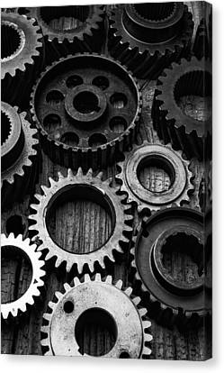 Component Canvas Print - Black And White Gears by Garry Gay