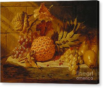 Bunch Of Grapes Canvas Print - Black And White Grapes, Pears, Redcurrants And A Pineapple On A Ledge, 1845  by George Lance
