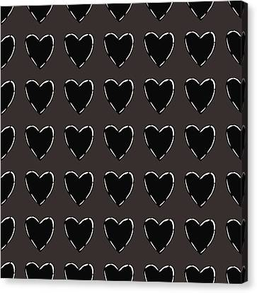 Roll Canvas Print - Black And White Hearts 1- Art By Linda Woods by Linda Woods
