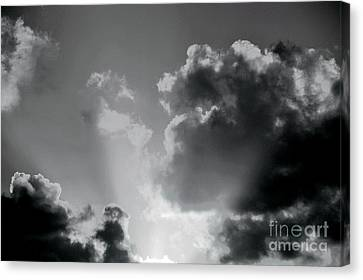 Black And White Heavenly Light Canvas Print
