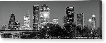 Black And White Houston Texas Downtown Skyline Panorama Canvas Print