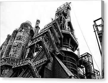 Black And White Industrial - Bethlehem Steel Canvas Print by Bill Cannon