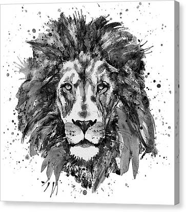 Lions Canvas Print - Black And White Lion Head  by Marian Voicu